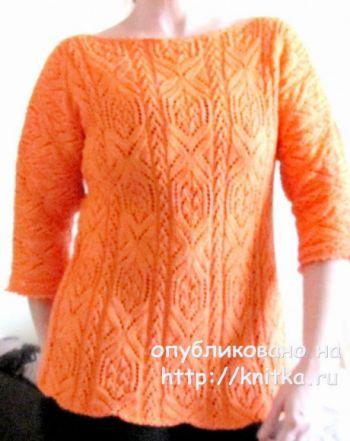 Пуловер спицами Апельсиновое настроение для женщин