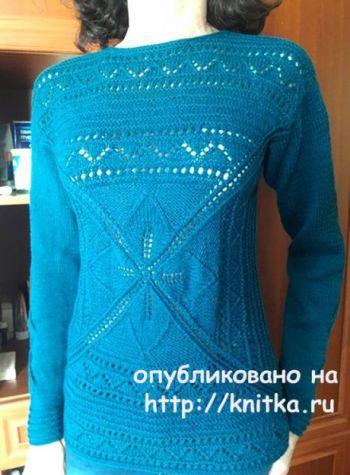 Свяжем спицами женский пуловер спицами Легкий шарм
