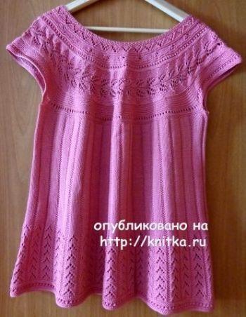 Розовый топ спицами на кокетке от Надежды Лавровой