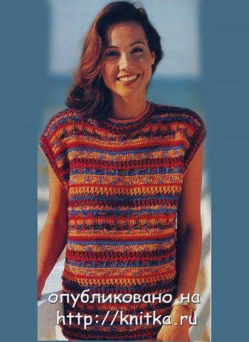 Женский пуловер, связанный спицами. Вязание спицами.