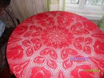 Скатерть спицами, вязание для дома
