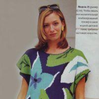 Женский пуловер с цветочным узором (интарсия)