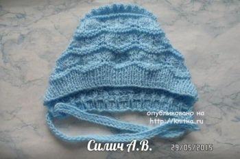 Детская шапочка спицами для новорожденного малыша