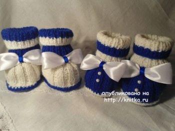 Схема вязания нарядных пинеток для мальчика спицами