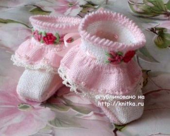 Пинетки для новорожденных Софья, мастер - класс от Оксаны Усмановой