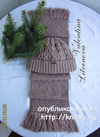 Мужской комплект шапочка и шарф спицами