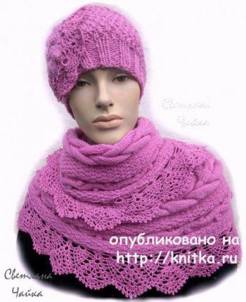 Женский комплект Брусничный: шапка и снуд спицами