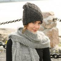 Вязаная шапочка и шарф спицами из Дропс