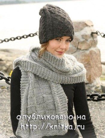 Вязаная шапочка и шарф спицами из Дропс. Вязание спицами.
