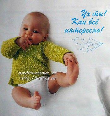 Зеленый пуловер для малыша. Вязание спицами.