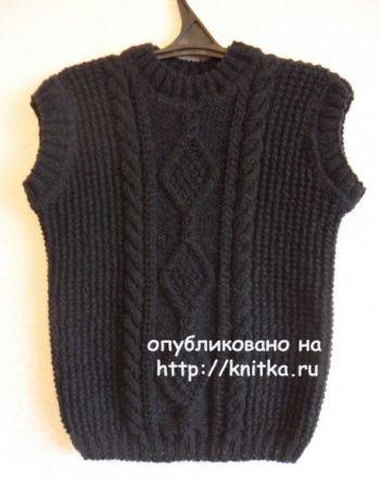 Вязаный спицами жилет от Светланы Шевченко