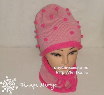 Комплект Розовые пузырики - шапка и снуд. Работа Тамары Матус
