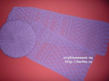 Ажурный берет и шарф спицами