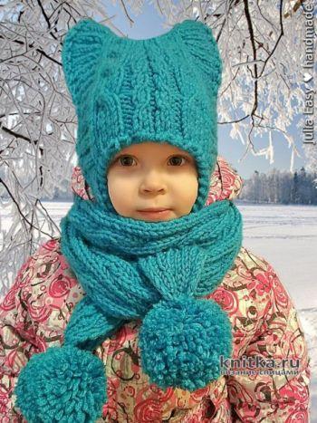 Вязанная спицами шапочка с ушками для девочки