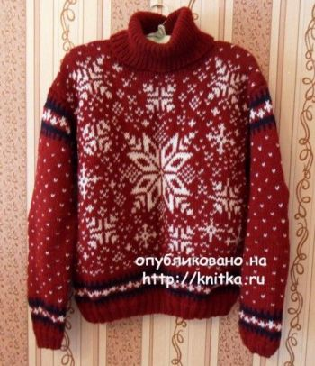 Женский и мужской свитера с норвежскими узорами (жаккард)