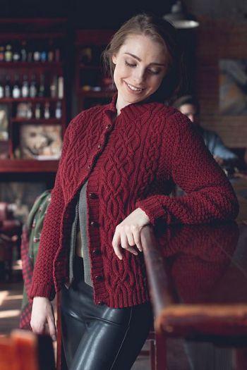 Шикарный бордовый жакет спицами для женщин