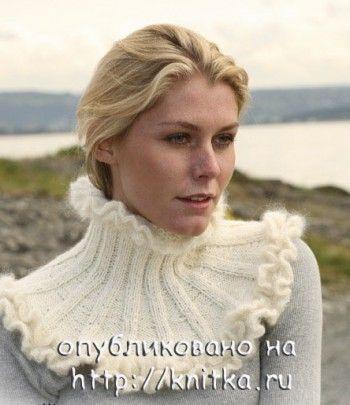 Белая манишка из Дропс. Вязание спицами.