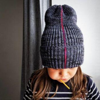 Интересная шапка тыковка спицами с отворотом