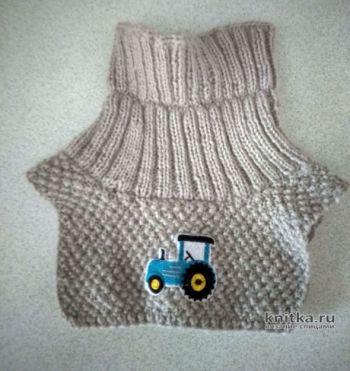 Теплая манишка спицами для ребенка 2-3х лет (описание для начинающих)