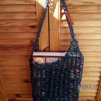 Вязанная летняя сумка авоська спицами