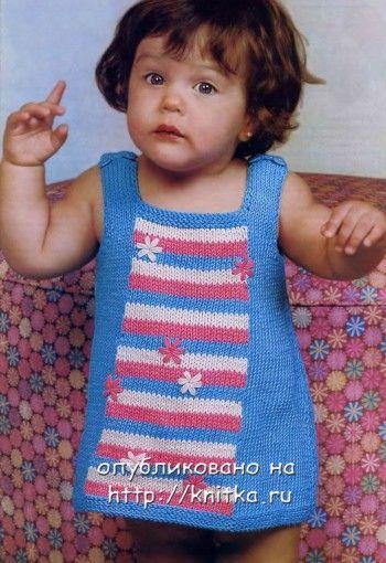 Вязаный сарафан для малышки. Вязание спицами.