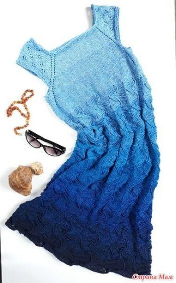Летний сарафан спицами для женщин. Вязание спицами.