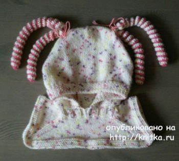 Шапка - шлем для девочки спицами