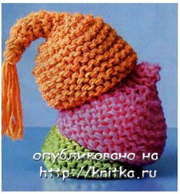 Вязаные шапочки. Вязание спицами.