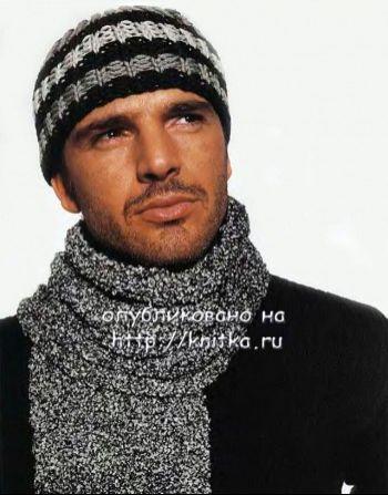 Полосатая шапка и шарф для мужчины. Вязание спицами.