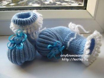 Пинетки спицами для новорожденных мастер класс от Головиной Ольги