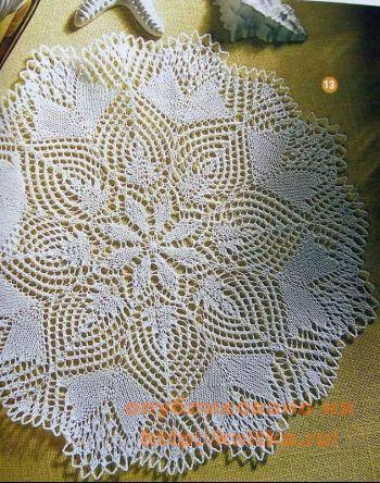 Белая ажурная салфетка. Вязание спицами.