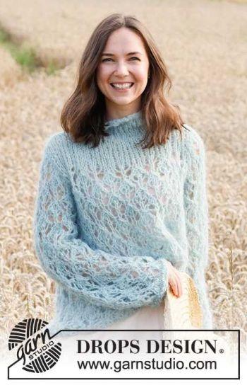Ажурный свитер Life's Stream спицами из толстой пряжи