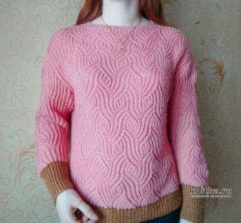 Пуловер с рельефным узором в технике бриошь. Работа Вагановой Татьяны