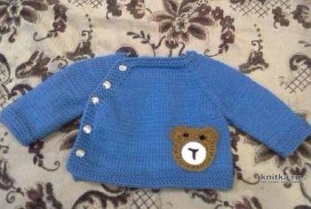 Кофточка для новорожденного мальчика спицами. Работа Ольги Ярославской