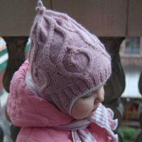 Лиловая шапочка и шарф для девочки