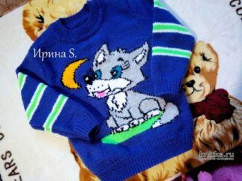 Детский свитер спицами Волчонок и луна. Работа Ирины Стильник
