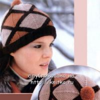 Женская шапочка, связанная спицами
