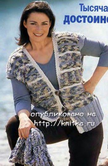 Серый жилет, связанный спицами. Вязание спицами.