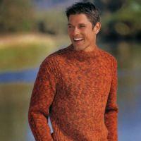 Меланжевый пуловер с воротником-стойкой