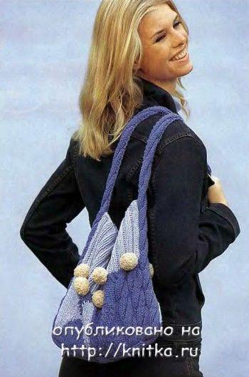 Простая сумка с помпонами