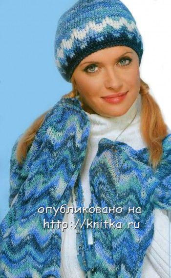 Полосатый шарф спицами с зигзагообразным узором. Вязание спицами.