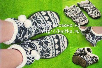 Домашние носки – тапочки – угги. Вязание спицами.