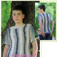 Мужской пуловер из секционной пряжи