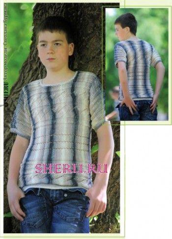 Мужской пуловер из секционной пряжи. Вязание спицами.