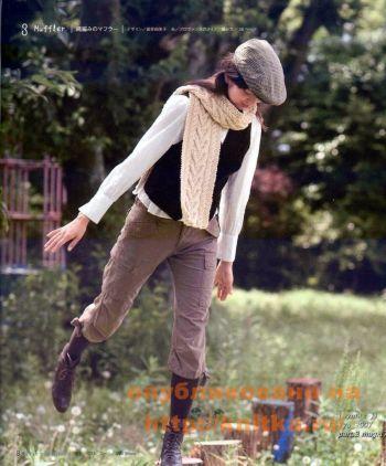 Теплый шарф. Вязание спицами.