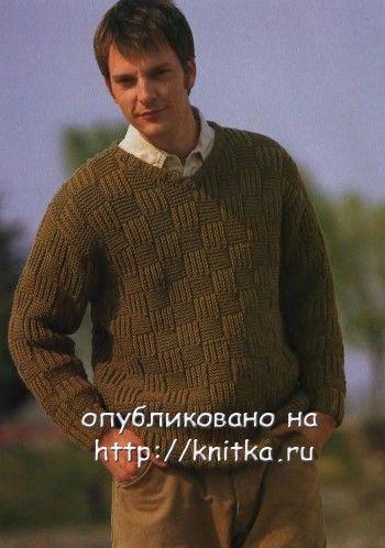 Коричневый пуловер с V-образным вырезом. Вязание спицами.