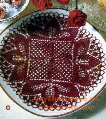 Бордовая салфетка. Вязание спицами.