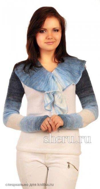 Кофточка c воротом-галстуком. Вязание спицами.