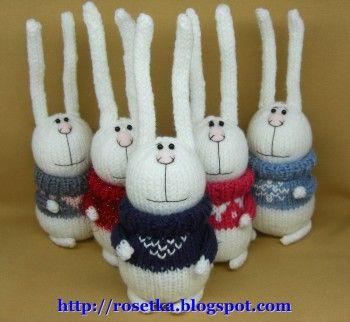 Вязаные спицами зайцы. Вязание спицами.