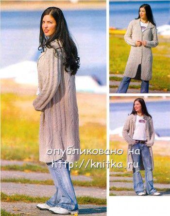Летнее пальто, связанное спицами для женщин